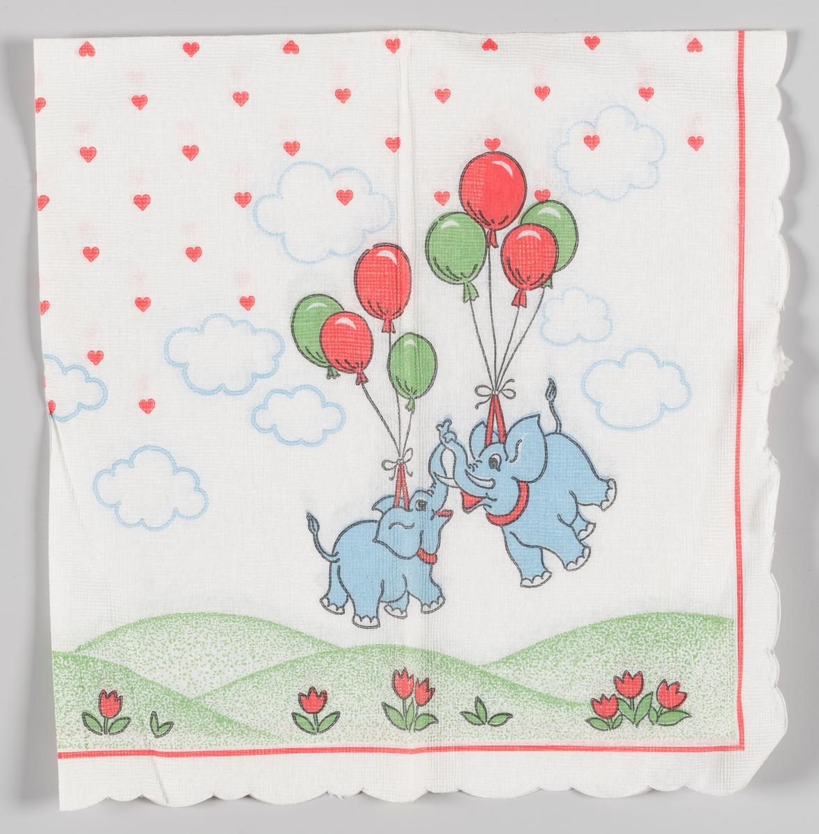To flygende elefanter som holdes opp i luften av ballonger. Bakkelandskap og blomster. Hjerter og skyer på himmelen.