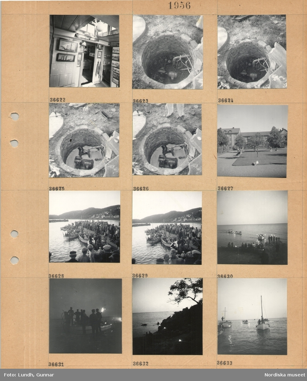 Motiv: (ingen anteckning) ; Interiör av ett rum med tavlor av fartyg, en brunn med en pump installerad, människor i en park, en folksamling i en hamn med människor i båtar med facklor.