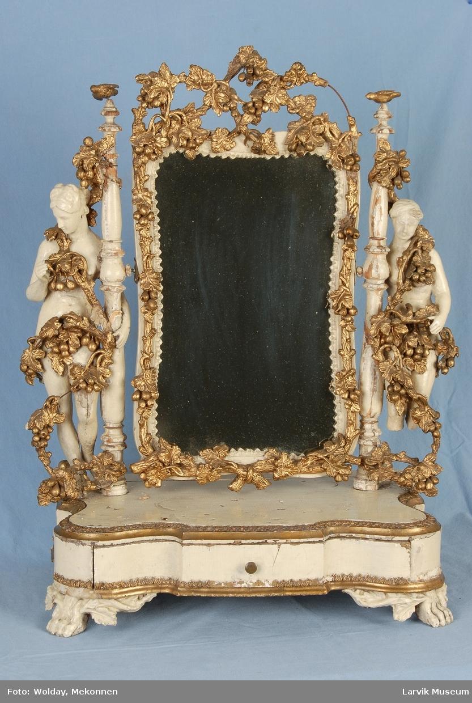 Speil med ramme og skuff til å ha stående på kommode.