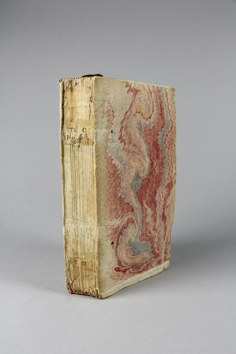 """Bok, häftad """"La religion protestante"""", del 3, tryckt 1730 i Amsterdam. Pärmar av marmorerat papper, blekt och skadad rygg med påklistrad etikett med samlingsnummer. Oskuret snitt."""