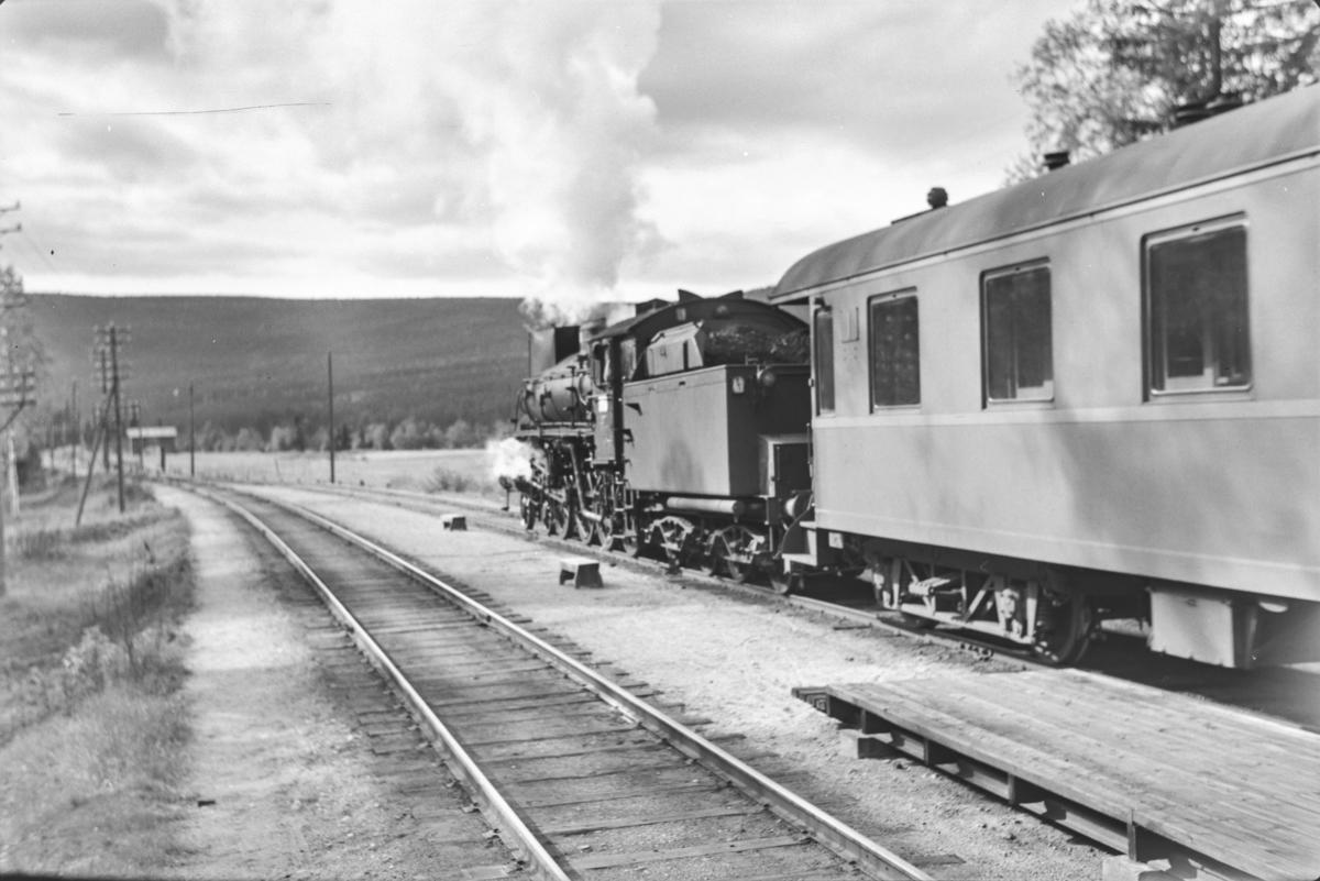 Dagtoget fra Trondheim til Oslo Ø, Pt. 302 på Hanestad stasjon. Toget trekkes av damplokomotiv type 26a nr. 217.