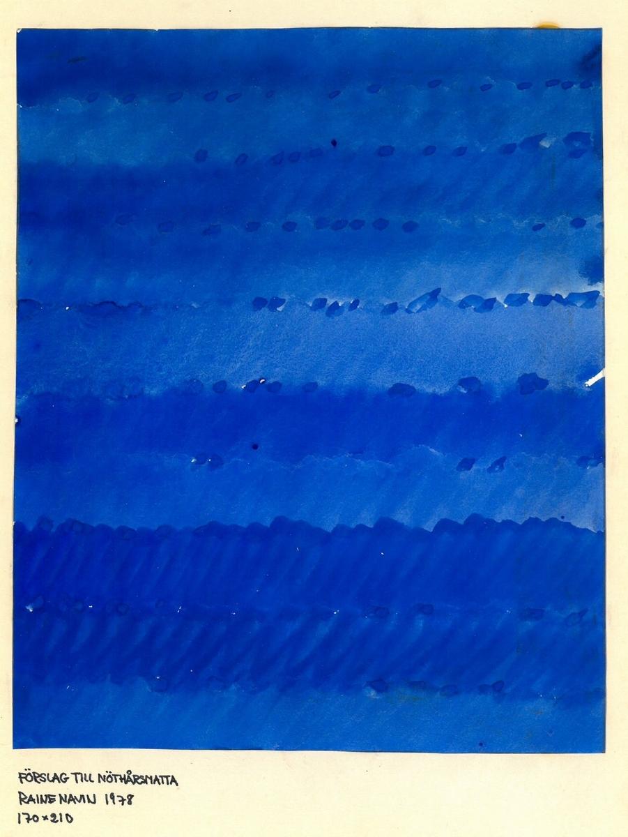 """Skiss till skyttlad matta. Formgivare: Raine Navin 1978 """"Förslag till nöthårsmatta"""" """"170x210"""""""