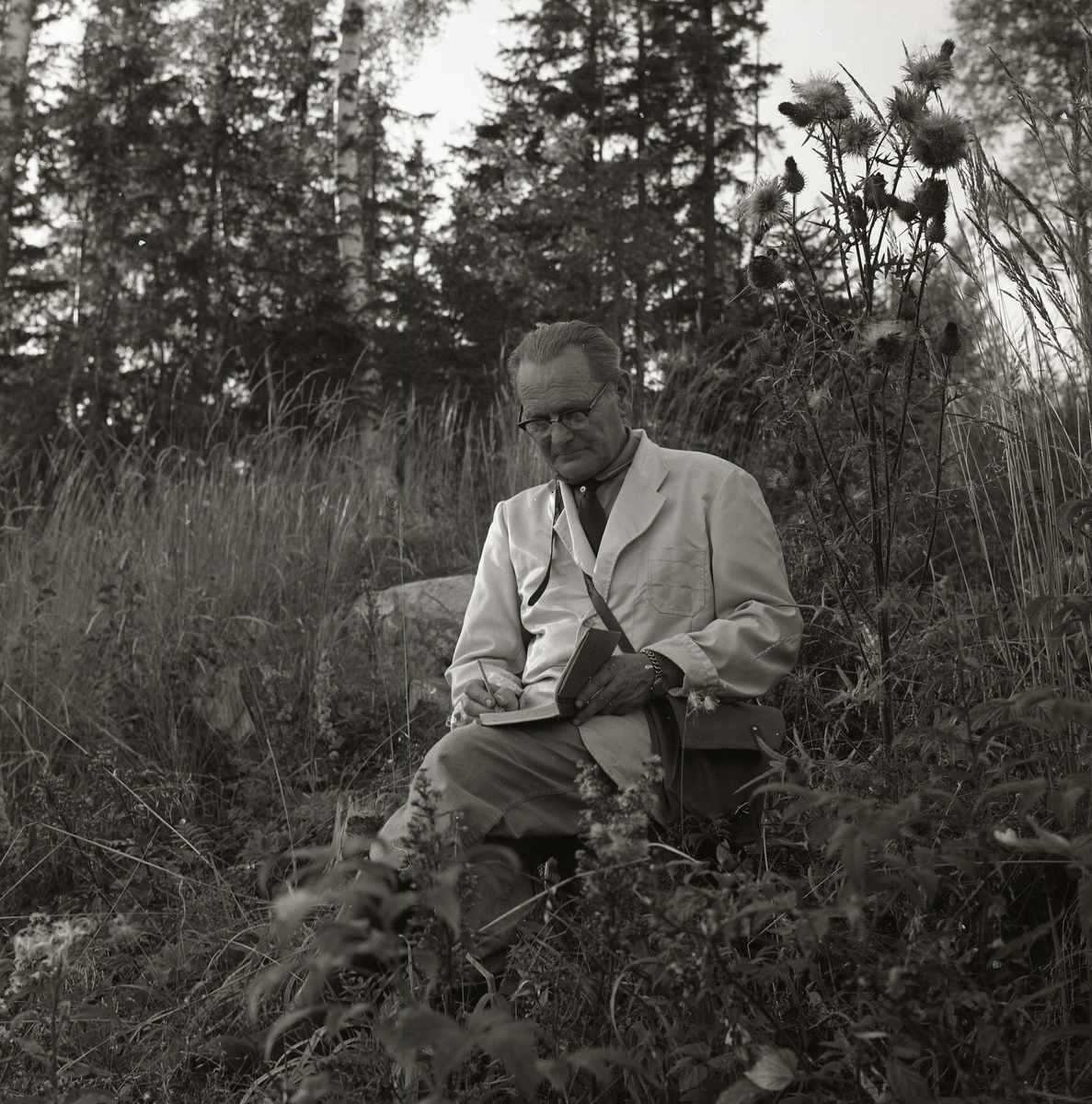 En man sitter i gräset och för anteckningar i Västra Höle, september 1961.