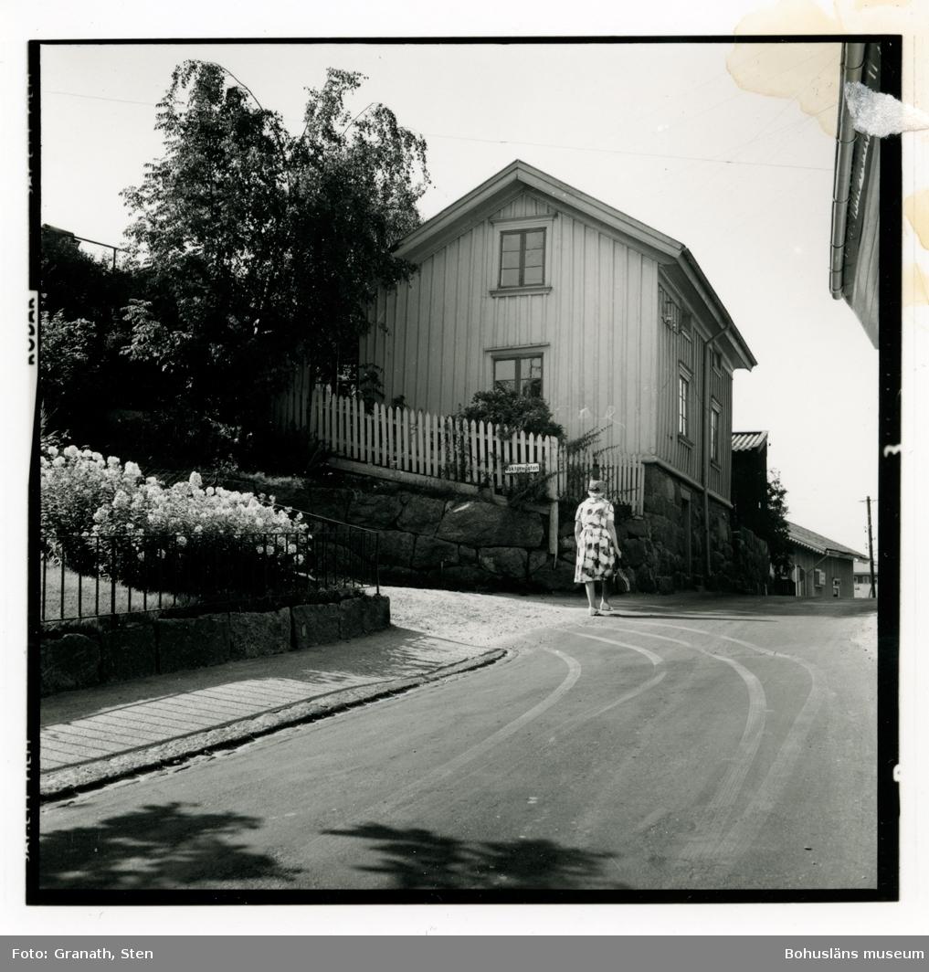 Korsningen Strömbergsgatan Väktaregatan i Uddevalla. En kvinna är på väg upp över backkrönet. I trädgårdarna blommar det och solen kastar skarpa skuggor på gatan.