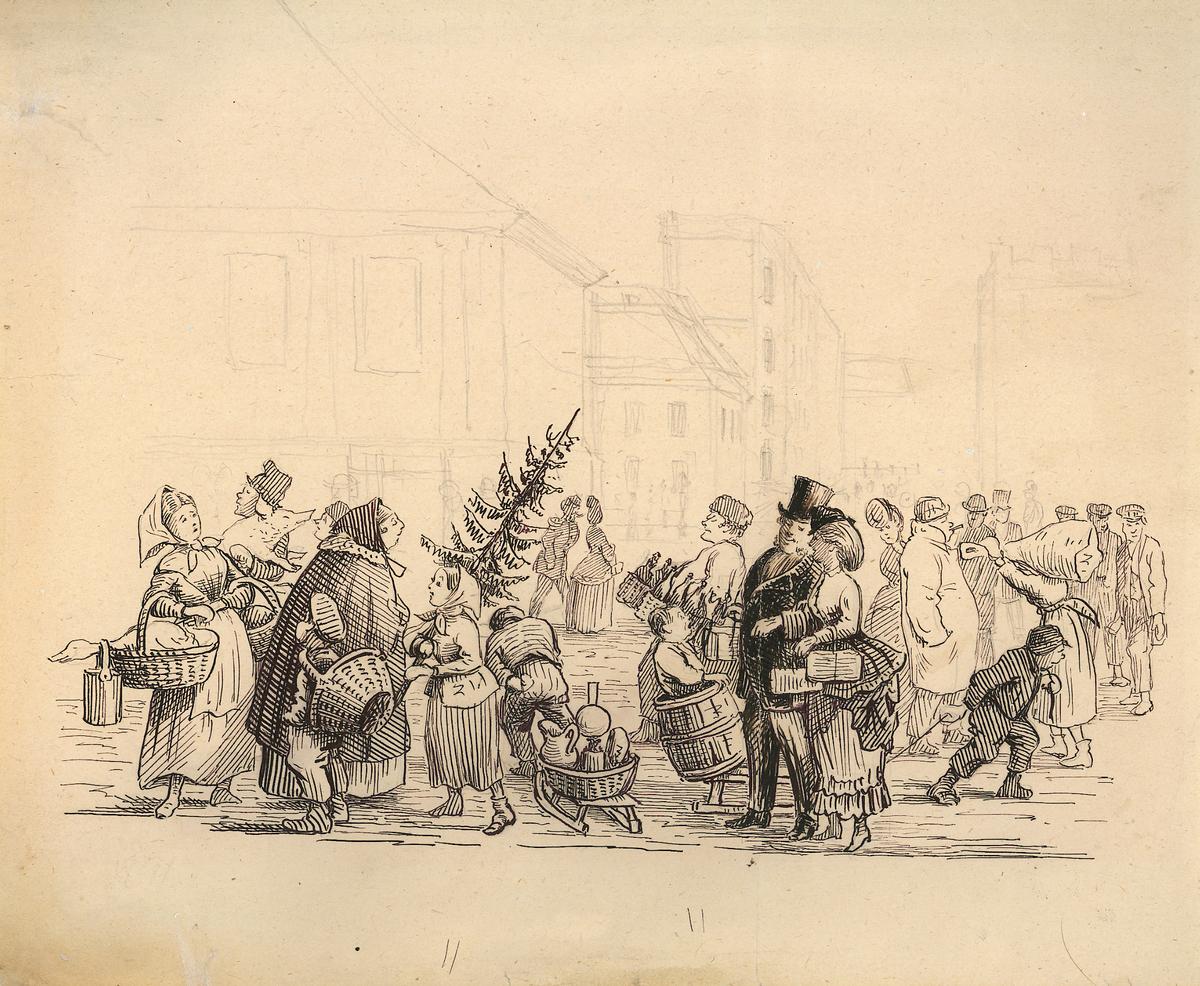 folkeliv, karikatur, handel, jul, torg, juletre, bygninger