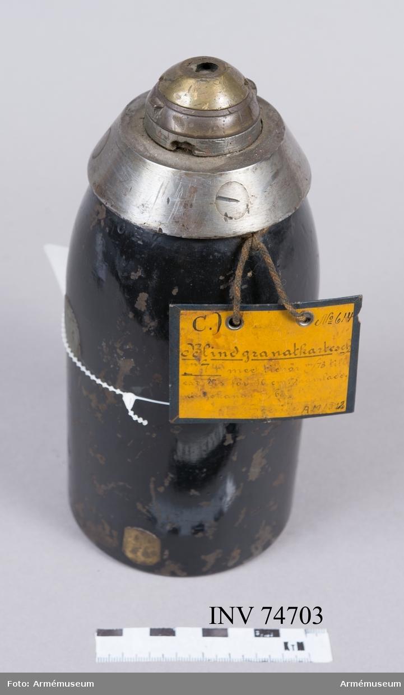 Grupp F:IV. Blind 10 cm granatkartesch m/1874, exercisammunition för 10 cm framladdningskanon m/1863.