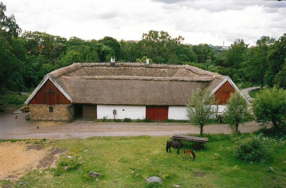 Skansens skånegård flyttades i sin helhet från Högs socken i västra Skåne under åren 1974-1977. Gården är kringbyggd med en gårdsport i den norra delen. Gårdsplanen är satt med natursten. På Skånegården finns en boningslänga, två loglängor samt en stallänga. I söder, utanför den kringbyggda gården ligger trädgården. Byggnaderna är ursprungligen uppförda under 1700- och 1800-talet.