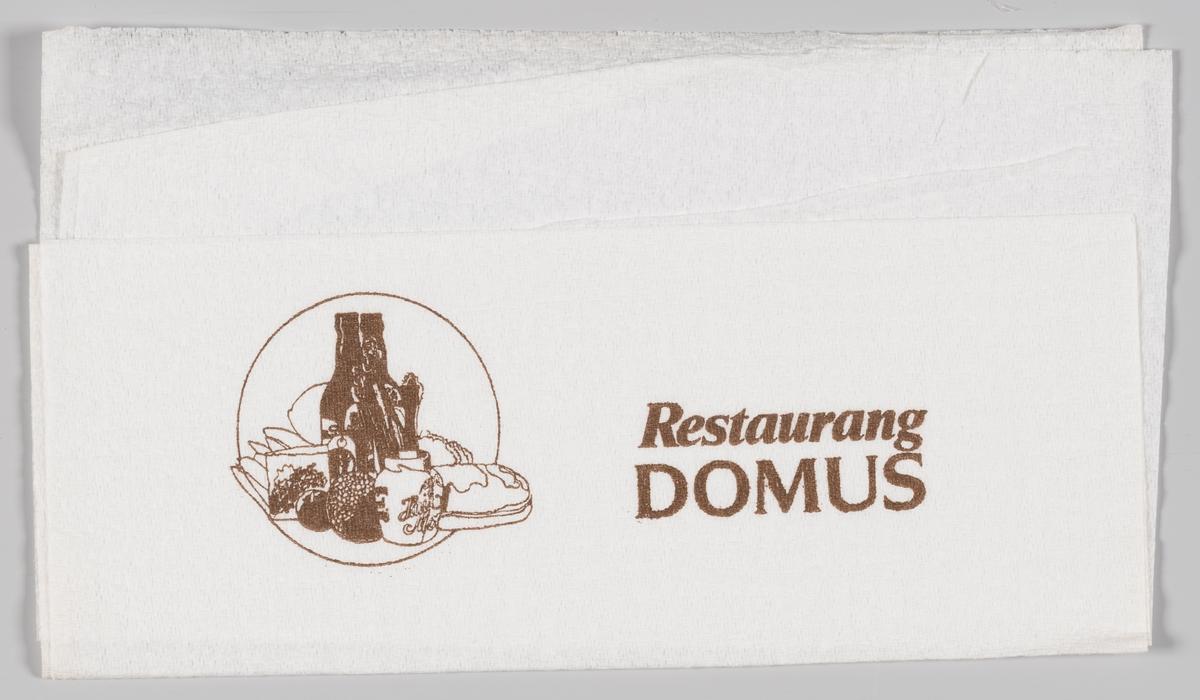En tegning av mat og drikkeflasker og reklame for Restaurang Domus.