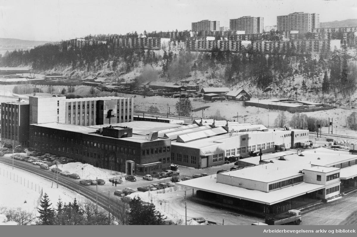 Bryn. A/S Norsk Viftefabrikks nye industribygg. Februar 1976