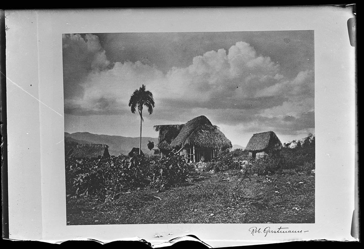 """Tre byggnader med vasstak. I bakgrunden syns berg. Bilden är signerad Rob. Gerstmann och reprofotograferad av Harald Olsson. I Olssons anteckningar står det """"27 rep. för Folke Olsson""""."""