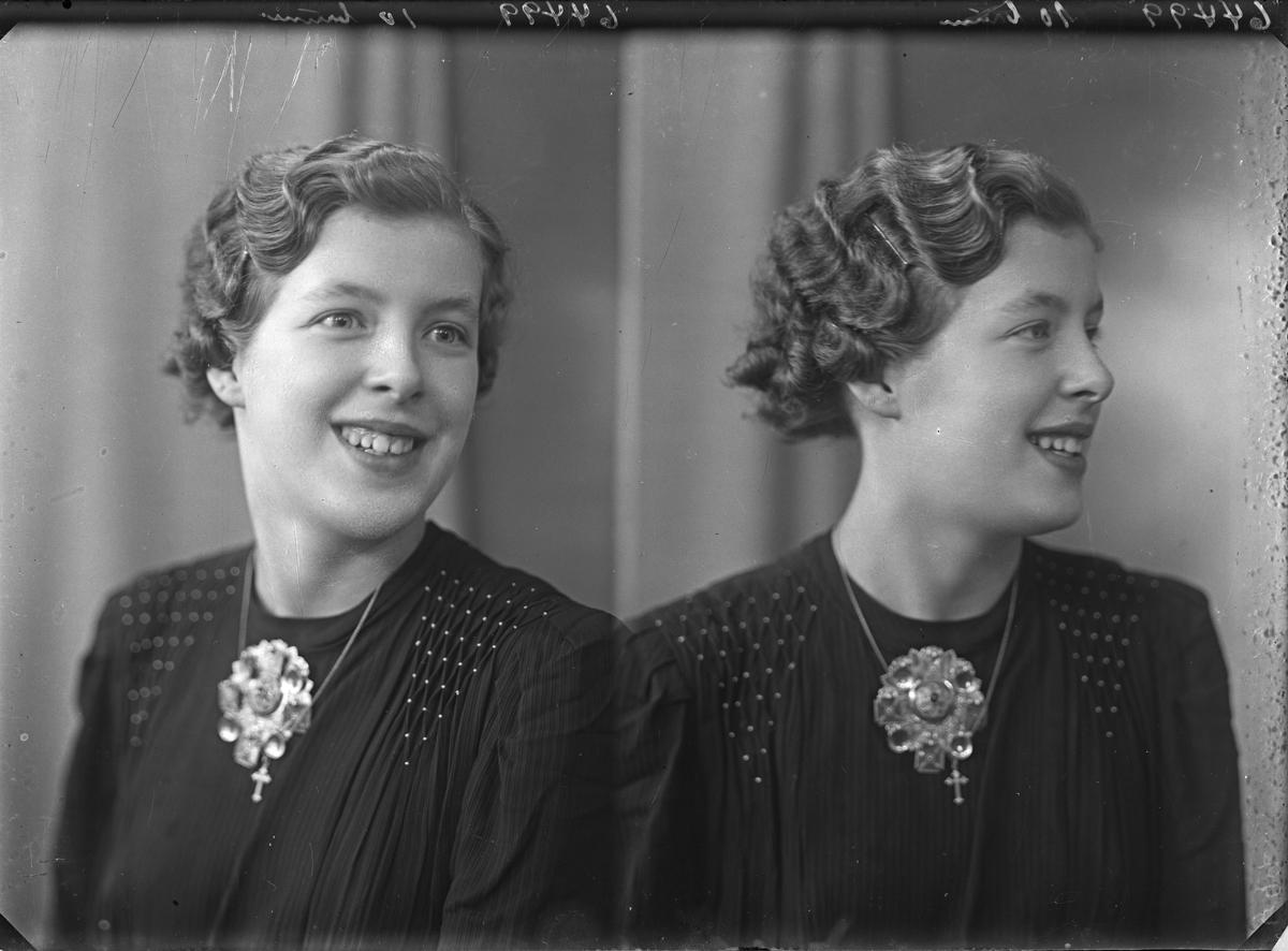 Portrett. Ung kvinne med kort mørkt hår i mørk kjole med sølje i halsen. Konfirmant. Bestilt av Ruth Hustoft. Nedre Vats