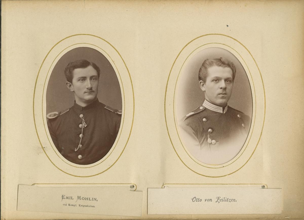 Porträtt av Carl Otto Evald von Feilitzen vid Första livgrenadjärregementet I 4.  Se även bild AMA.0007329.