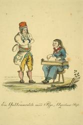 J F L Dreiers akvarell fra 1820-tallet viser ei jente fra Gudbrandsdalen med langeleik (Foto/Photo)