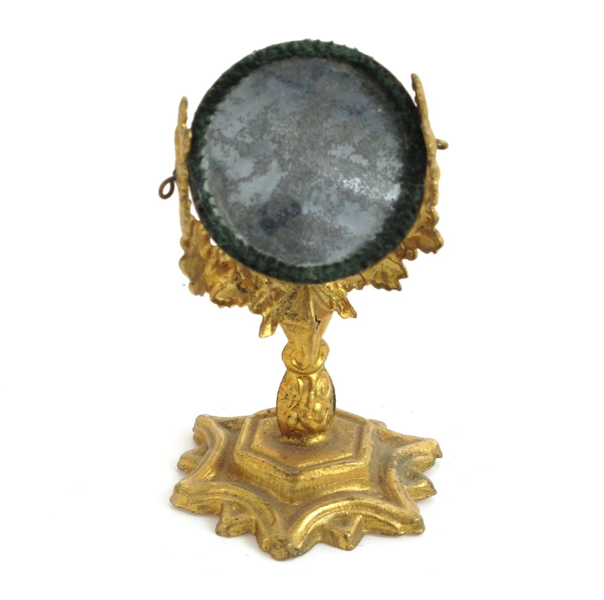 Toalettspeil, forgylt, stjerneformet fot, svingbart speil
