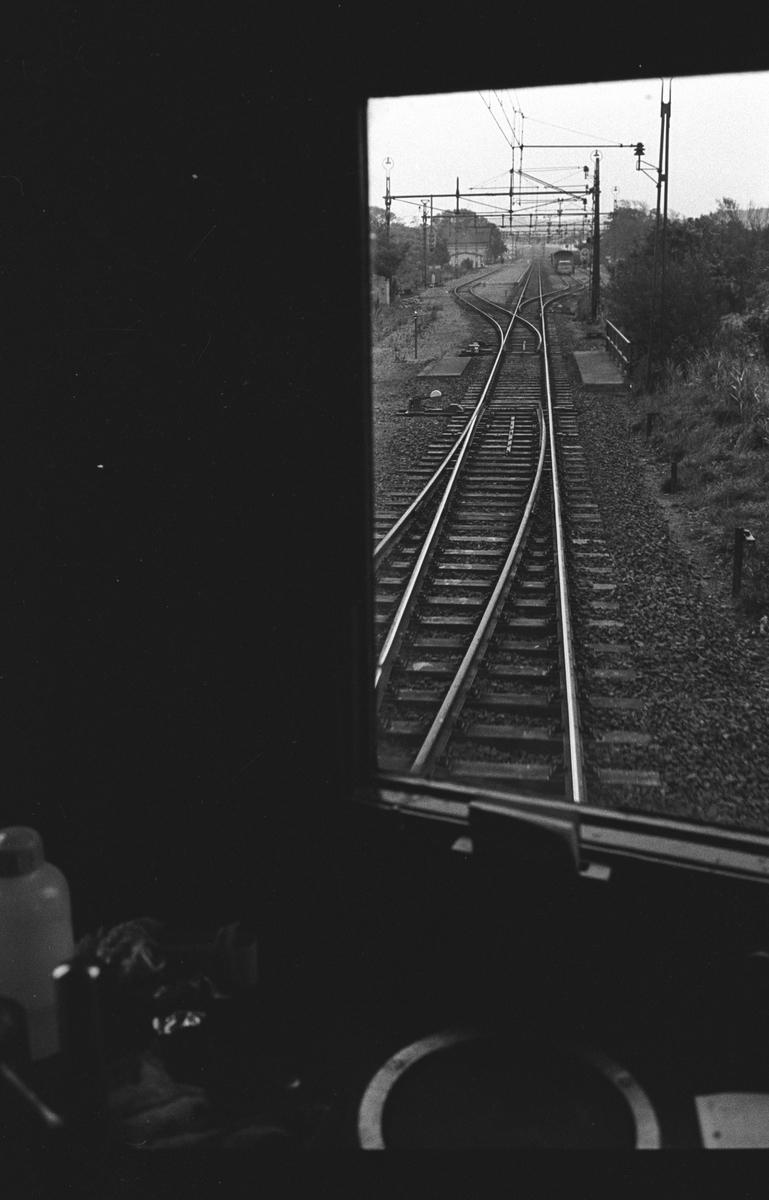 Fjärrblockering, linjen Göteborg, G - Halmstad, Hd. Fotografiet taget innifrån SJ F 632