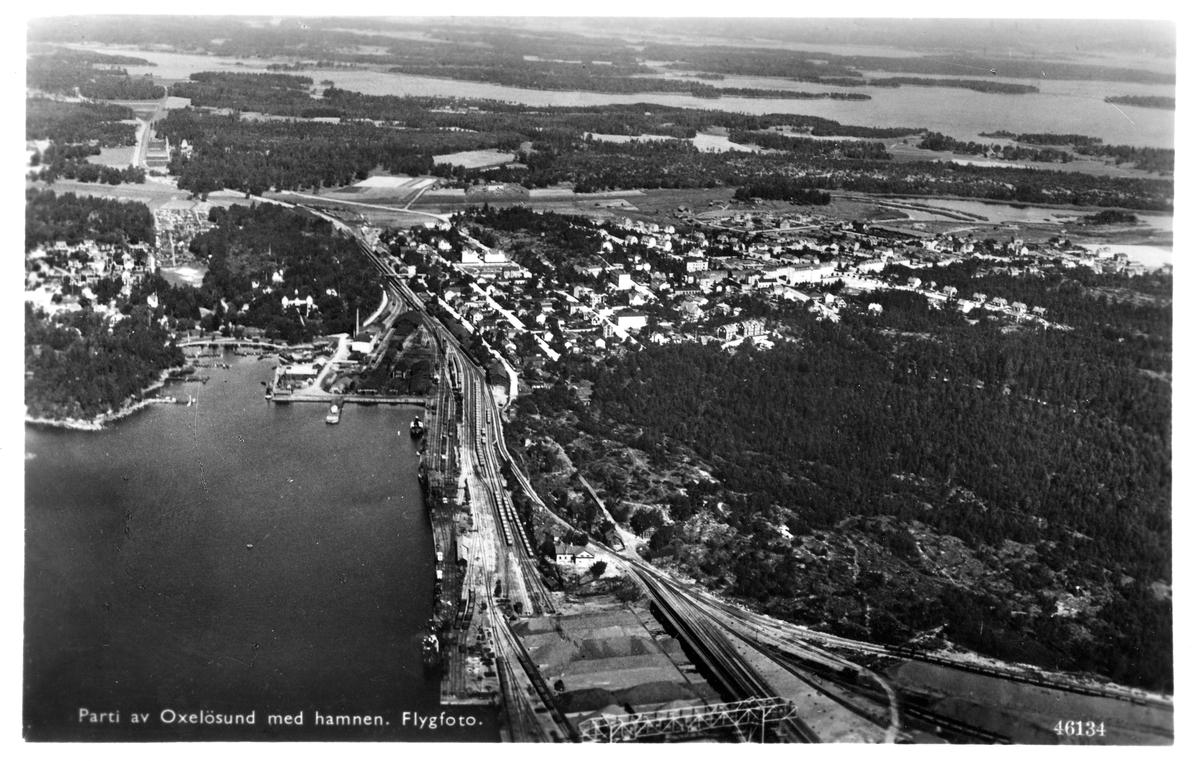 Flygfoto över Oxelösund hamn