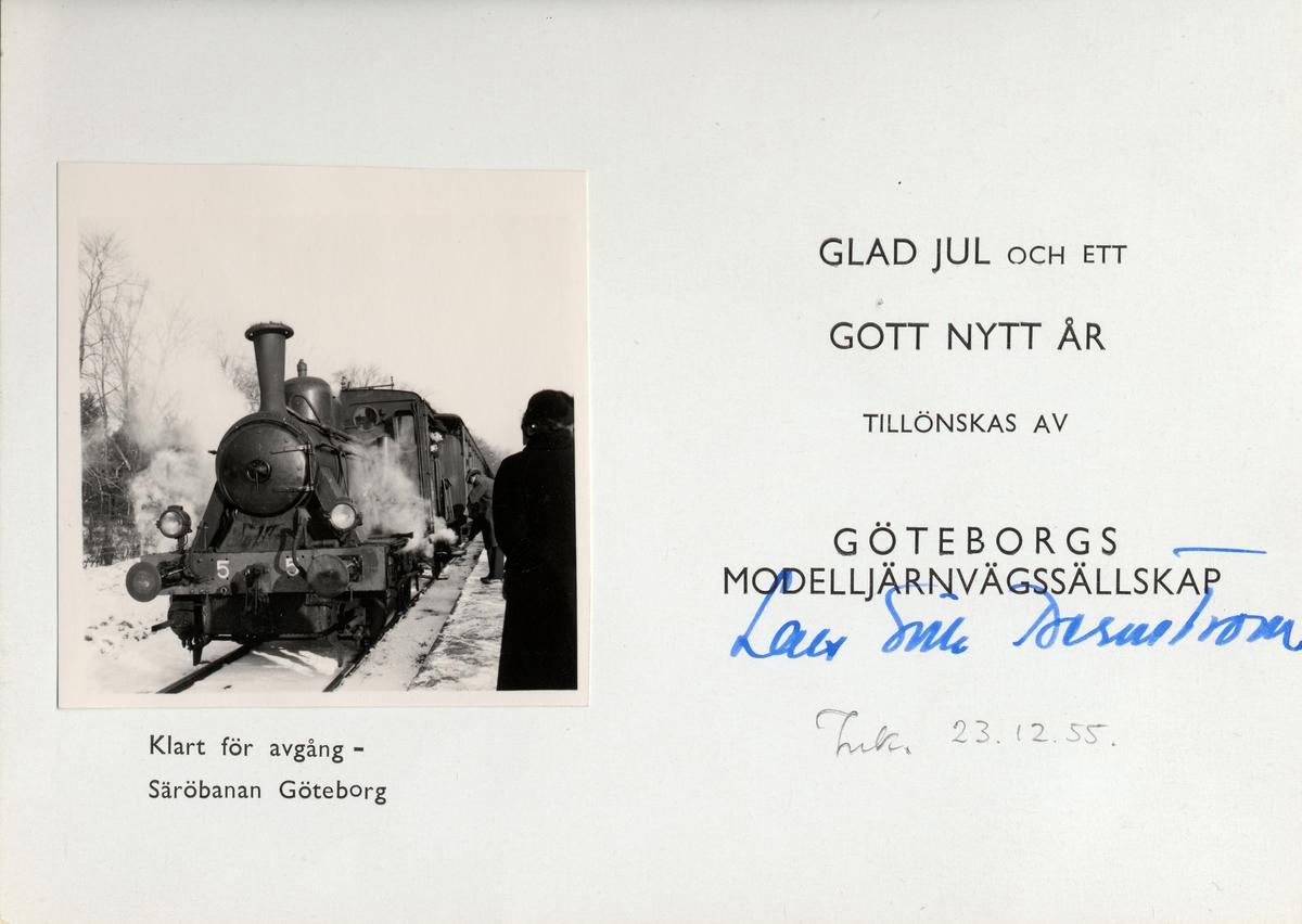 GSJ 5, ånglok. Tenderlok tillverkat av Motala Verkstad med axelföljden 1C-2.  Göteborg, Säröbanan.  Loket såldes 1911 till MYJ, Malmö-Ystads Järnväg .