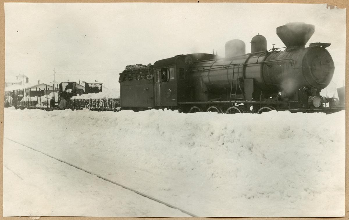 Statens Järnvägar, SJ E2 1100, med godsvagnar fylld med snö under snöröjningen.