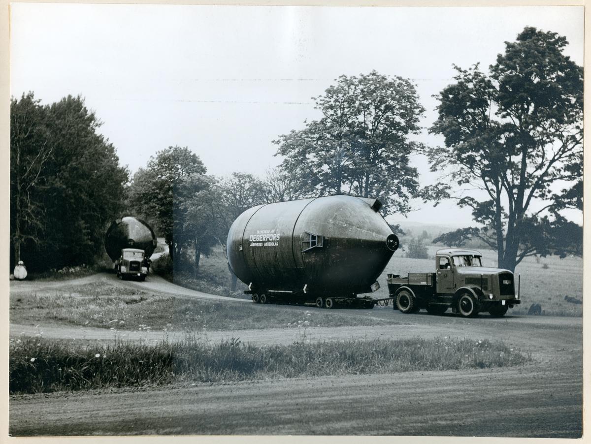 Transport av sulfitkokare, som tillverkats av Degerfors Järnverk.