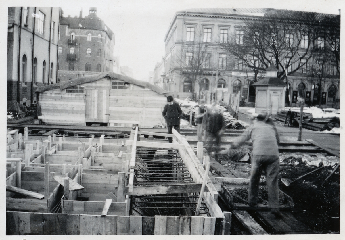 Tunnelbygge vid Gävle centralstation.