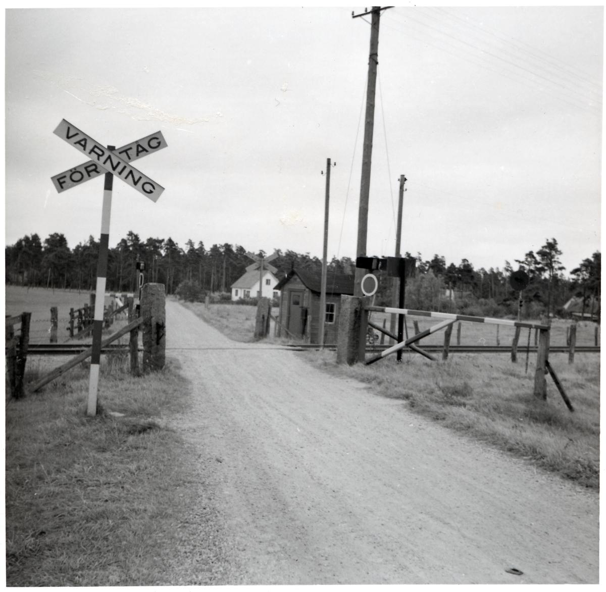 Järnvägsövergång vid Horna, på sträckan mellan Rinkaby och Åhus.