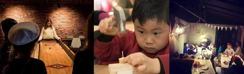 Collage med tre bilder. Barn spiller shuffleboard, en gutt med hammer slår inn spikker i en liten klossebåt og et bursagsselskap.