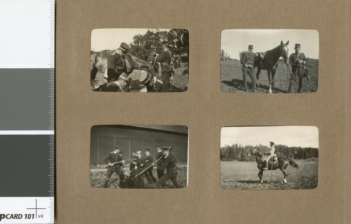 Göta livgarde, underbefäl och soldat med officershäst.