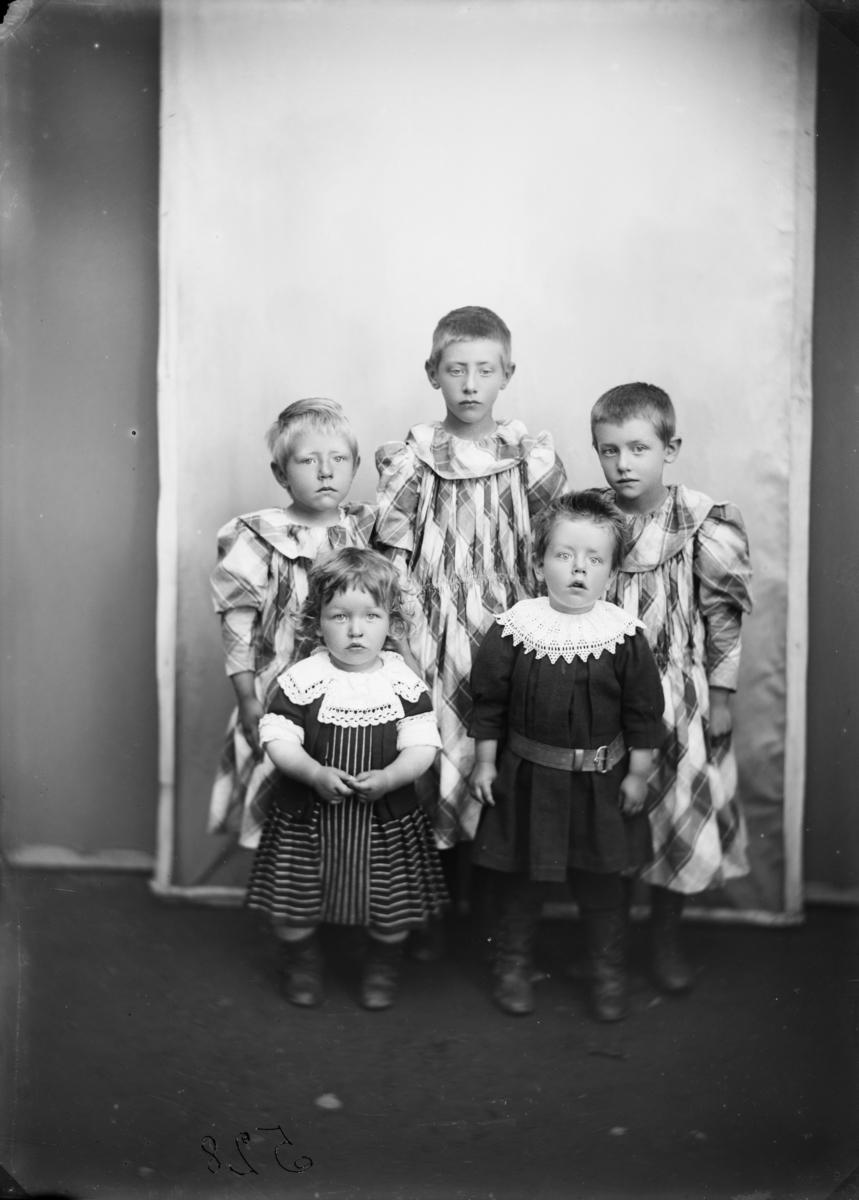Gruppe med 5 barn. MPLs regnskapsbok: Karl Poppes børn, Onsum, Faaberg