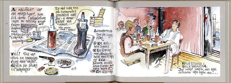 """Sideoppslag fra boka """"Med penn og pensel""""."""