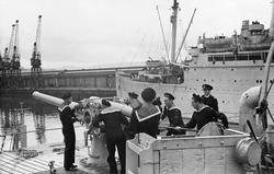 """4"" Kanoneksersis ombord i 'Bergensfjord' 1944"