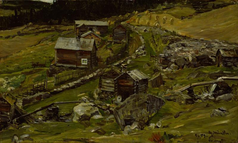 """""""Bondegård i Valdres"""", 1879. Gerhard Munthe, Nasjonalmuseet."""