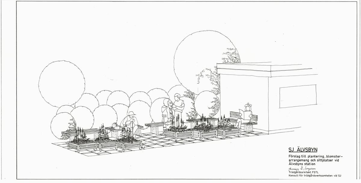 SJ Älvsbyn. Förslag till plantering, blomsterarrangemang och sittplatser vid Älvsbyns station.  Fogelbergs samling. Inför järnvägens 150-årsjubileum 2006 gjorde Fredrik Fogelberg och Charlotte Lagerberg Fogelberg ett utredningsarbete åt dåvarande Banverket om järnvägens planteringar. Närmare 200 planteringsskisser kopierades från Riksarkivet, landsarkiven och hos privatpersoner. Planteringsskisserna är digitaliserade från de gjorda kopiorna och inte från originalen i arkiven.