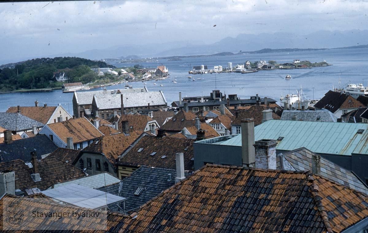 Sølyst og Grasholmen i bakgrunnen..Mot Slakthuskaien.Husene ligger til Breigata, Bakkegata, Øvre Holmegate.