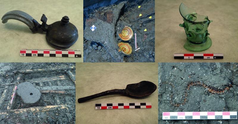 Bildet viser seks små bilder av funn gjort i Bjørvika de siste 10-15 årene. Bilde av blant annet keramikkfat, glass, kværnsteiner, treskje, fiskeskjelett, alt fra 15-tidlig 1600-tallet
