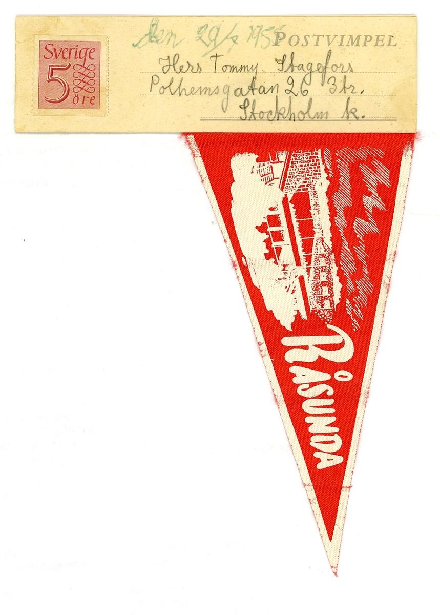 Brevkort av typen Postvimpel.  Vimpeln har ett Råsunda-motiv i rött och vitt. Frankerad och adresserad men ej poststämplad.