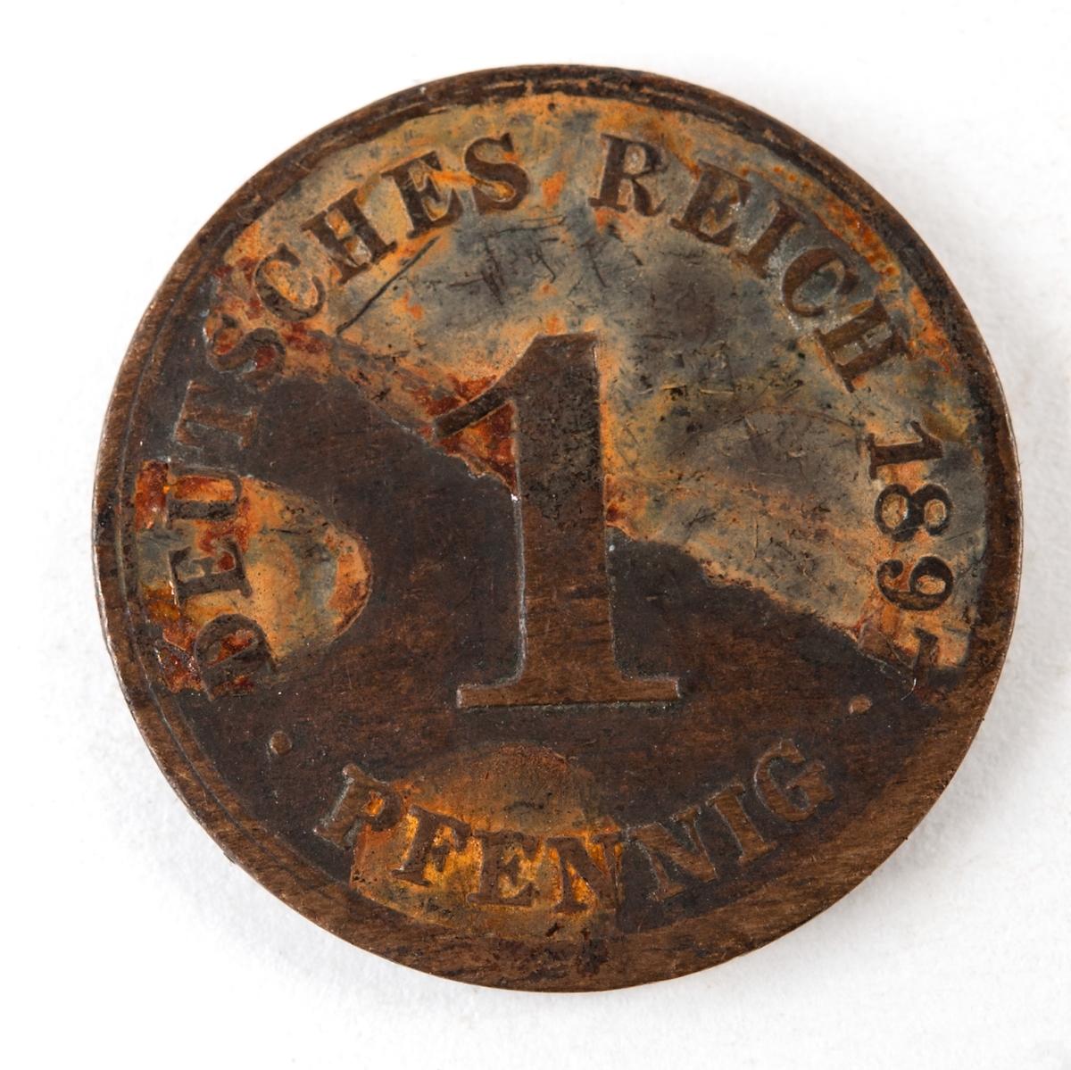 Tyskt 1-pfennigmynt präglat 1897
