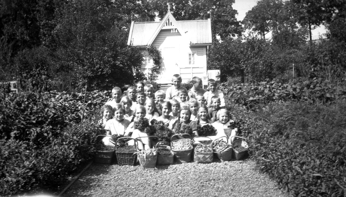 Skoleelever fra Skøyen skole oppstilt med grønnsaker i skolehagen på Hengsengen, Bygdø Kongsgård, ca. 1920.