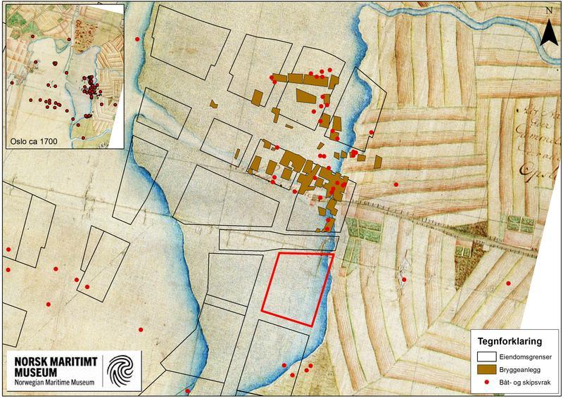 Kartet viser tidligere arkeologiske funn i området. Kartet er fra tidlig 1700-tallet og viser at området har ligget under vann i tidligere tider. Den røde avgrensningen er tomta B8a (Foto/Photo)