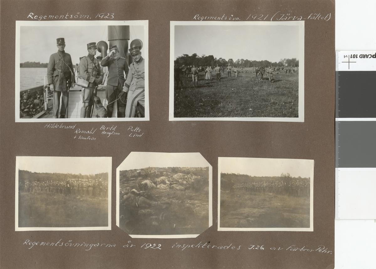 "Text i fotoalbum: ""Regementetsövning 1921""."
