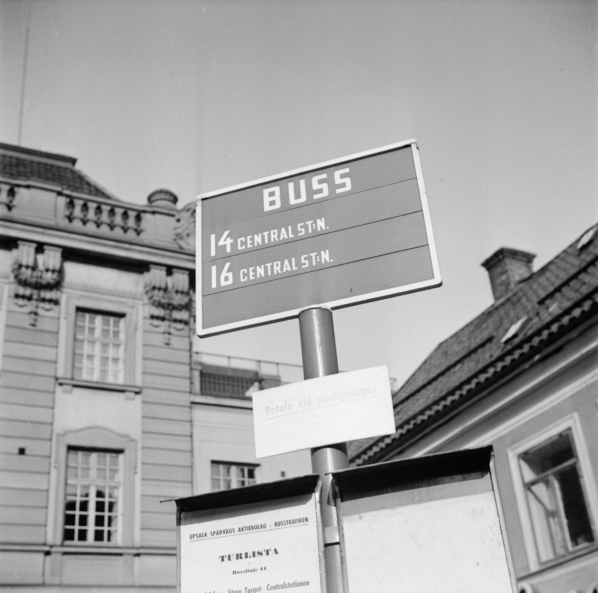 Busshållplats, Uppsala 1948