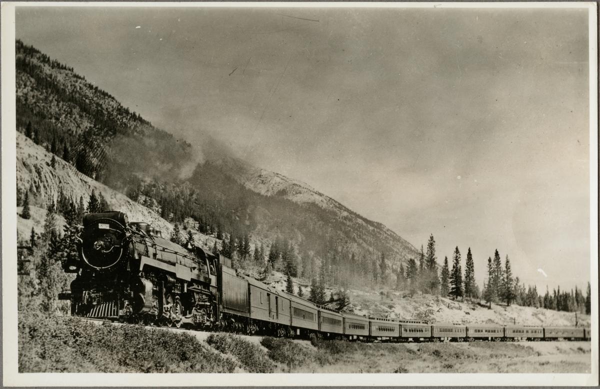 Canadian Pacific Railway, CPR T1a 5905 med passagerartåg. Ånglokstypen kallades även Selkirk.