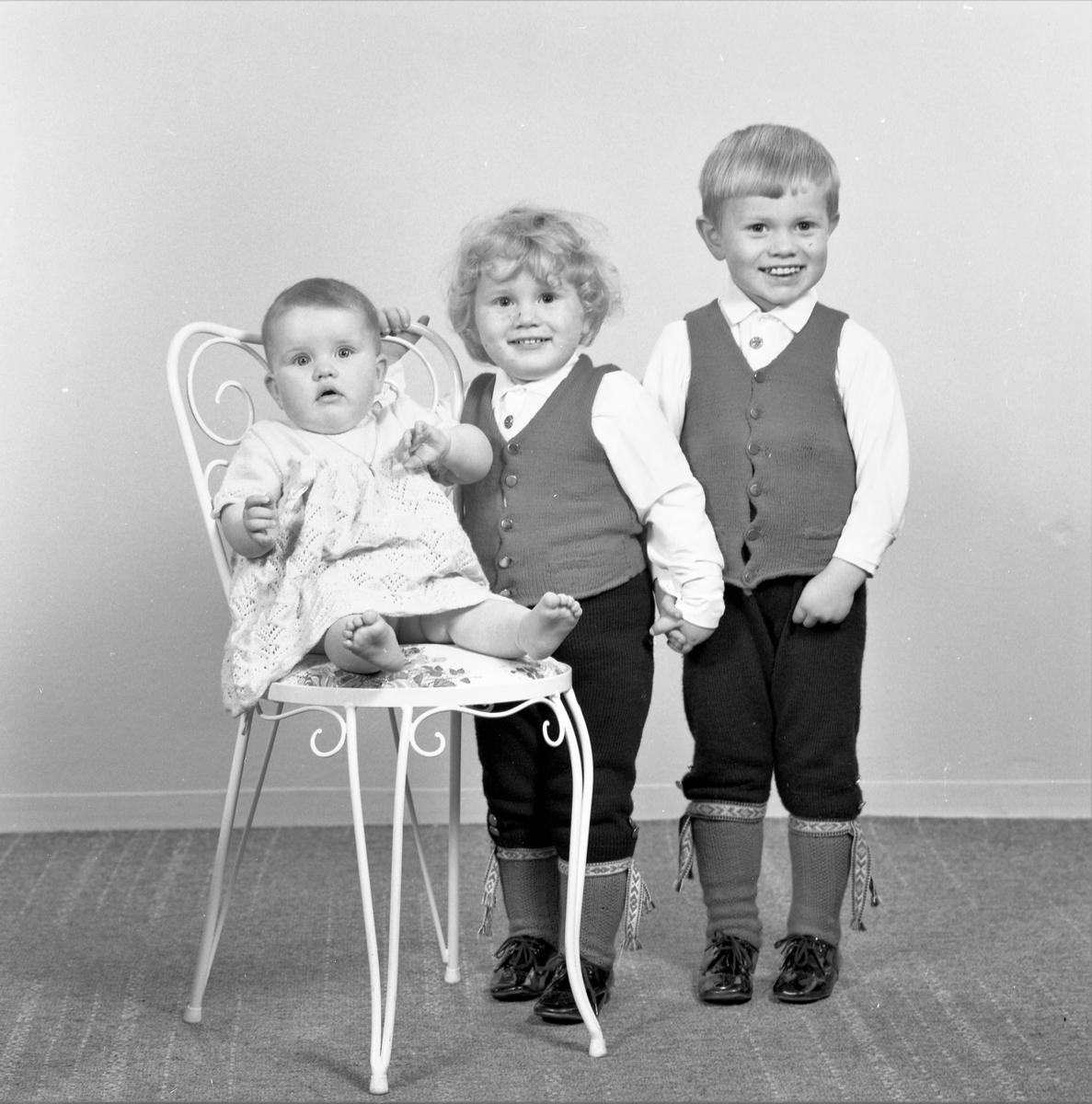 Portrett. Familiegruppe på tre. To unge gutter og en liten pike. Bestilt av Knut Ruset. Øvregata 199