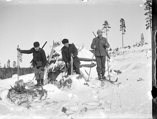 Tre skidåkare med en hund på jakt, Riddarhyttan.