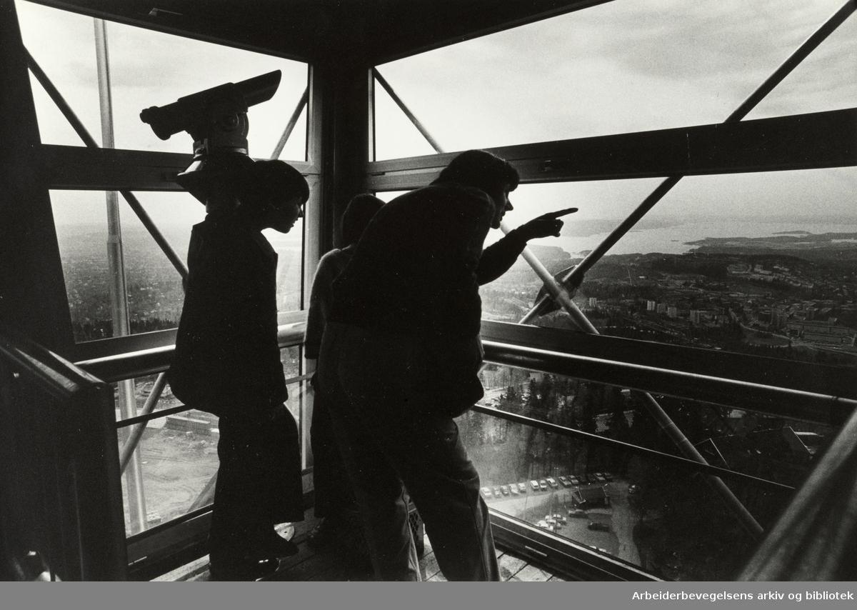 Holmenkollbakken. Utsikten fra tårnet. Juni 1981