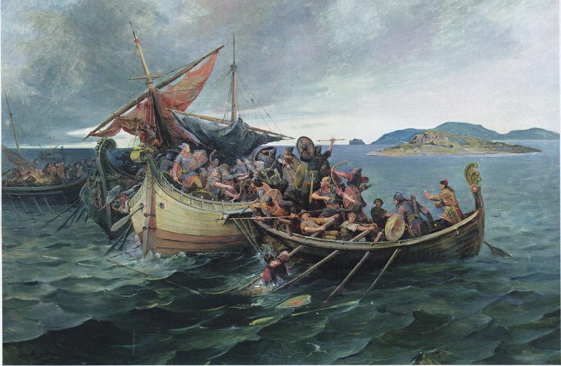 Jomsvikinger deltar i slaget ved Svolder, slik kunstneren Nils Nilsen Bergslien så det for seg, cirka 1900.
