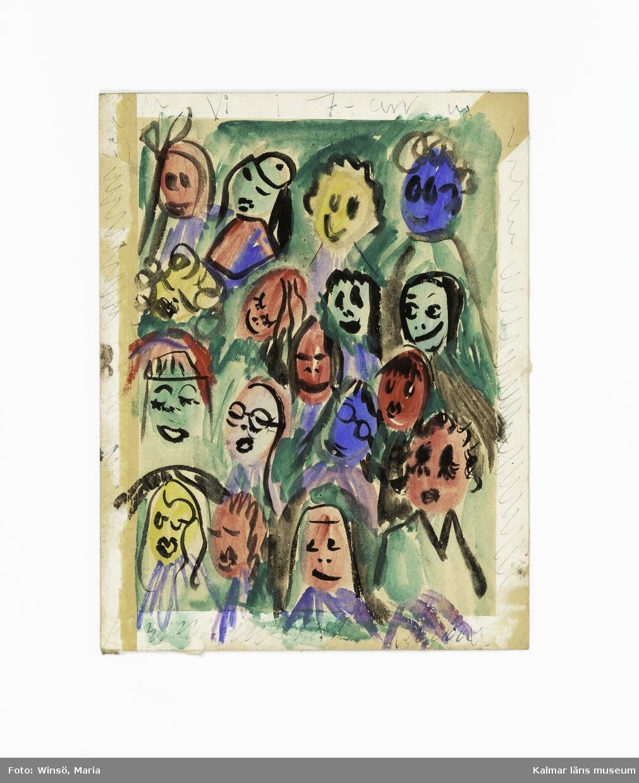 """Ansikten målade i olika färger, Gunilla Skyttlas klasskamrater Titel: """"Vi i 7-an"""" (:1). Två människoliknande figurer, den ena i sittande position med upplyfta armar och den andra stående, med höjd arm i en hotfull position . Titel: """"gift er aldrig"""" (:2)"""