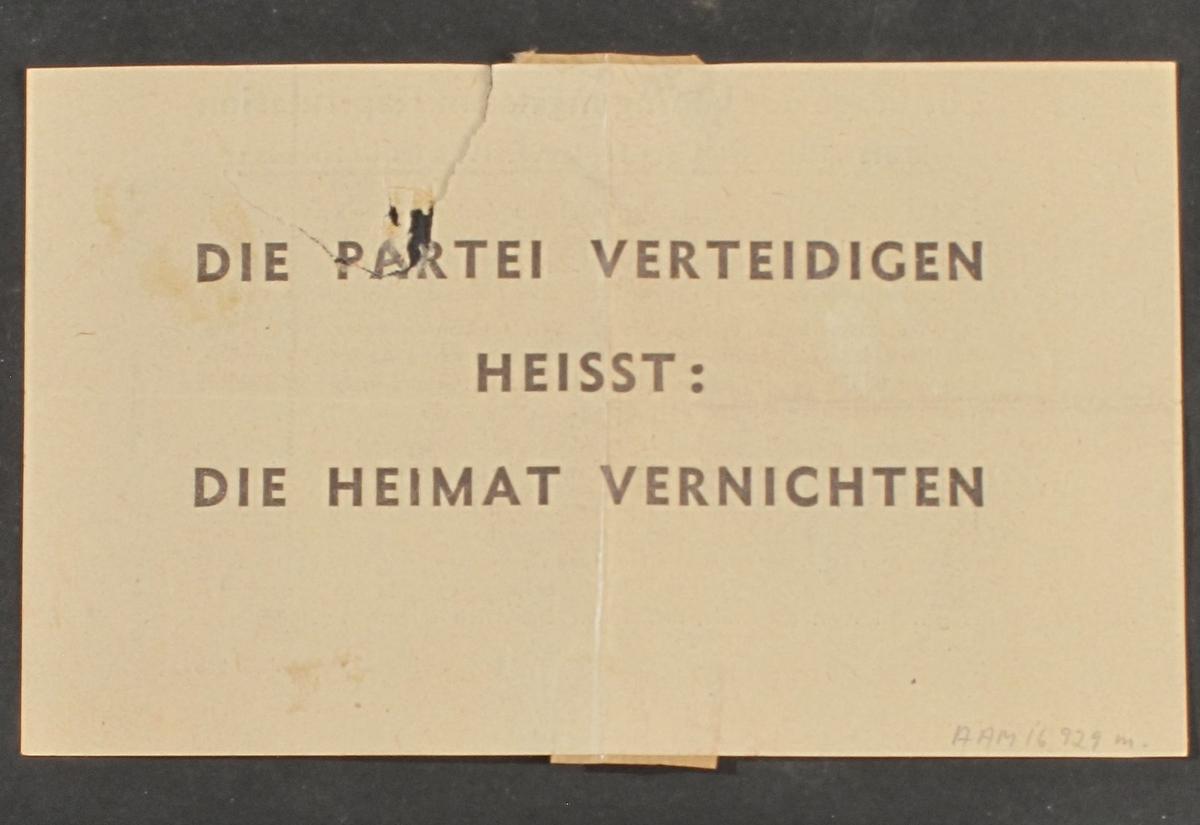 Flyveblad med tysk tekst.