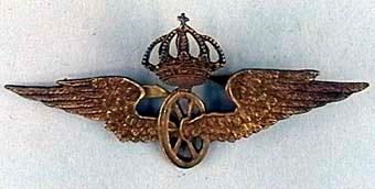 Mössmärke i form av krönt vinghjul av mässing, med vikben på baksidan.