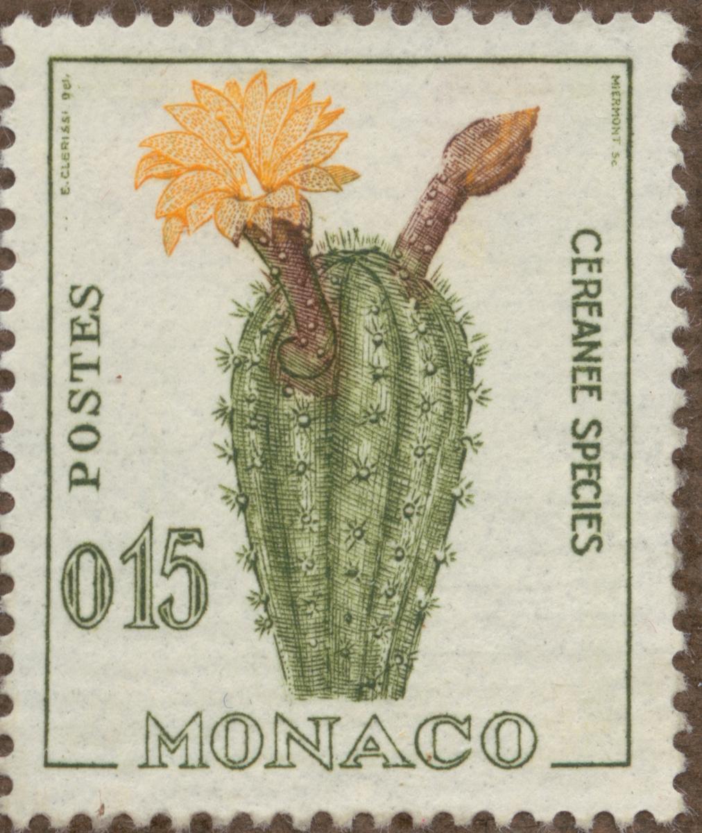 """Frimärke ur Gösta Bodmans filatelistiska motivsamling, påbörjad 1950. Frimärke från Monaco, 1960-62. Motiv av kaktus. """"Rainer III serie: diverse""""."""