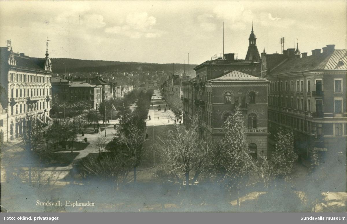 Vykort med motiv Esplanaden i Sundsvall.